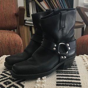 Frye Black Motorcycle Western Boots